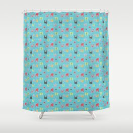 Colorful bunnies on blue background Shower Curtain