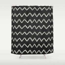 Moroccan Horizontal Stripe in Black and White Shower Curtain