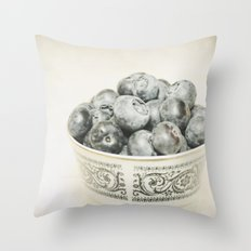 Blueberry Bowl Throw Pillow