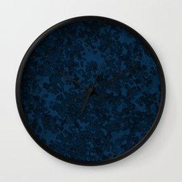 Prussian Blue Hybrid Camo Pattern Wall Clock