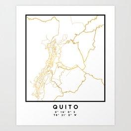 QUITO ECUADOR CITY STREET MAP ART Art Print