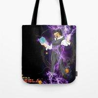 dbz Tote Bags featuring DBZ Tesla by Hushy
