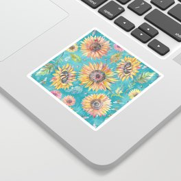 Sunflowers on Turquoise Sticker