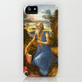 Saint Jerome in the Wilderness by Albrecht Dürer iPhone Case