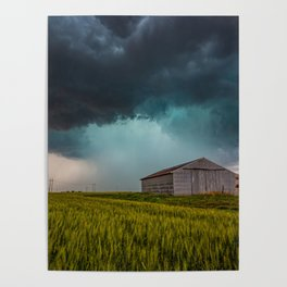 Rainy Day - Storm Passes Behind Barn in Southwest Oklahoma Poster