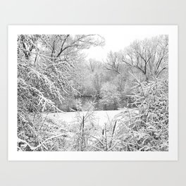 Winter Snow At Huron River Art Print