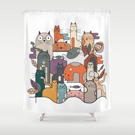 Cats Illustration Shower Curtain