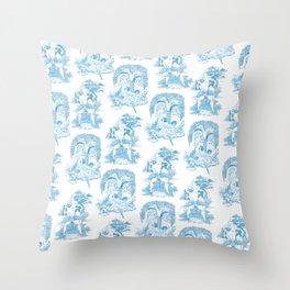 Blue Bawdy Toile Throw Pillow
