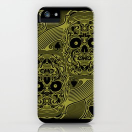 Ace of Spades Gold Skull Playing Card iPhone Case