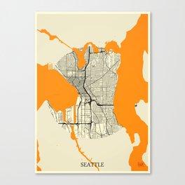 Seattle Map Moon Canvas Print