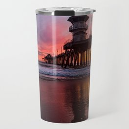HB Sunsets  3-21-16 - Sunset At The Huntington Beach Pier Travel Mug