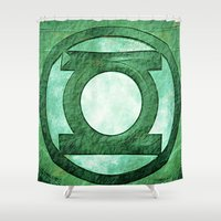 green lantern Shower Curtains featuring Green Lantern: Symbol by André Joseph Martin