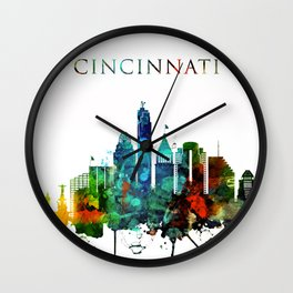 Colorful Cincinnati skyline Wall Clock