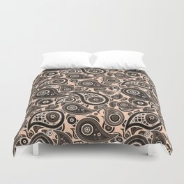 Apricot Pink Paisley Pattern Duvet Cover