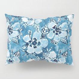 DANK DUDETTE Indigo Hibiscus Watercolor Pillow Sham