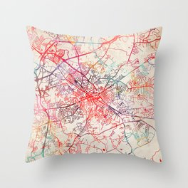 Spartanburg map South Carolina SC Throw Pillow
