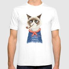 Sailor Cat V Mens Fitted Tee White MEDIUM