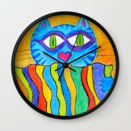 Cat holds a rainbow blanket Wall Clock