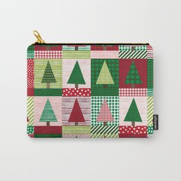 Christmas tree forest quilt pattern cute red and green holiday gifts Carry-All Pouch