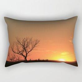 Kansas Golden Sunset with a tree Silhouette. Rectangular Pillow