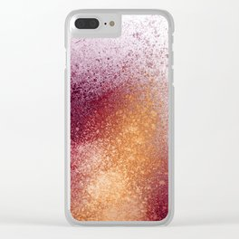 Amber and Maroon Paint Splatter Clear iPhone Case