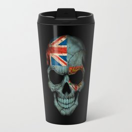 Dark Skull with Flag of Fiji Travel Mug