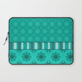 Peacock Green and White Abstract Mandala Tile Laptop Sleeve