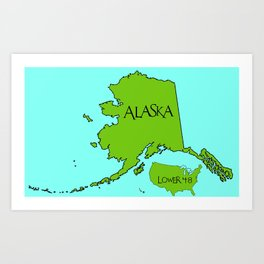 Alaska and the Lower 48 Forty-eight Art Print