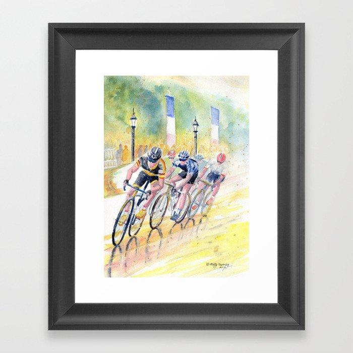 Colorful Bike Race Art Gerahmter Kunstdruck