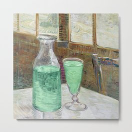 Drinking Absinthe Aperitifs in a Paris Cafe with Vincent still life portrait by Vincent van Gogh Metal Print