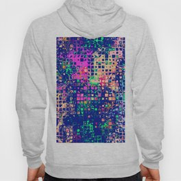 Colorful squares on a blue background Hoody