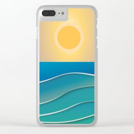 The sun comes and goes but the waves remain Clear iPhone Case
