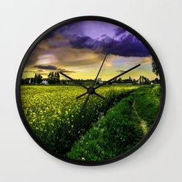 Rapeseed Sunset Wall Clock