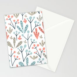 Coral Duck Egg Blue Greige Floral Leaves Stationery Cards
