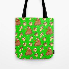 Cute happy llamas and funny little mushrooms green seamless pattern design Tote Bag