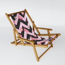 Black and pink Zig Zag With Flamingos and hawaiian flowers Pattern Sling Chair