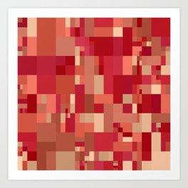 red mosaic design Art Print