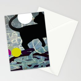 black cat funky abstract Stationery Cards