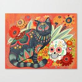 Dia De Los Muertos Cat Canvas Print
