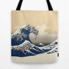 The Great Wave of Pugs Vanilla Sky Tote Bag