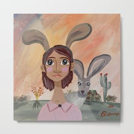 ~ Jill and Her Jackrabbit ~ Art By Milly Moo 12 Year Old Artist Metal Print