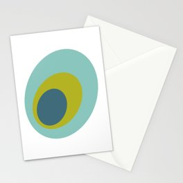 Peacock Ovals Turquoise Green Blue Mid Century  Stationery Cards