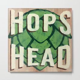 Hops Head - Beer Sign - Painted Wood Sign Metal Print