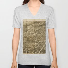 Vintage Pictorial Map of Austin Texas (1890) Unisex V-Neck