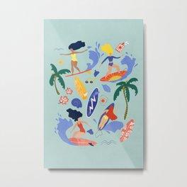 Surfing Girl Blue Metal Print
