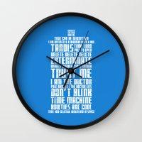 tardis Wall Clocks featuring Tardis by Tombst0ne