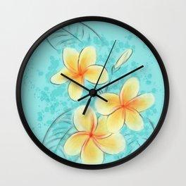 Tropical Turquoise Frangipani Wall Clock