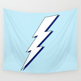 Just Me and My Shadow Lightning Bolt - Light-Blue White Blue Wall Tapestry