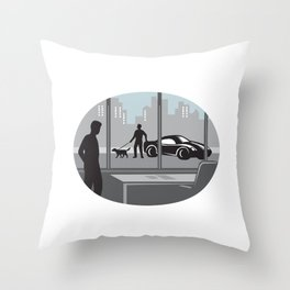 Office Worker Looking Through Window Oval Woodcut Throw Pillow