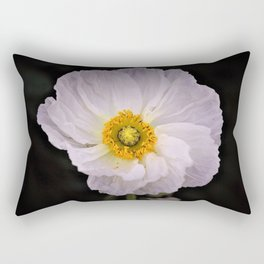 White with Yellow Center  Poppy by Reay of Light Photography Rectangular Pillow